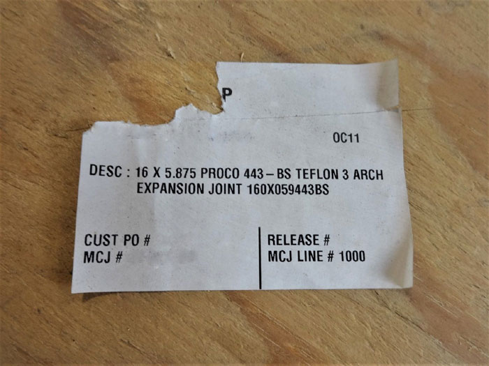 """PROCO 443 BS TEFLON 3-ARCH 16"""" X 5.875"""" EXPANSION JOINT 160X059443BS"""