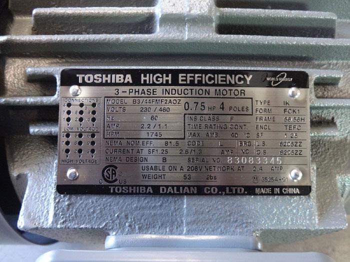 TOSHIBA HIGH EFFICIENCY 0.75 HP 3-PHASE INDUCTION MOTOR B3/44FMF2AOZ