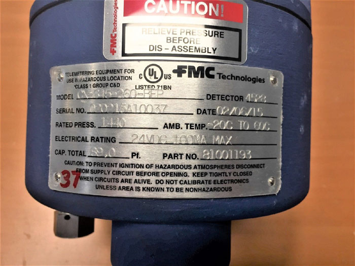 "FMC TECHNOLOGIES 2"" 600# CAPACITANCE PROBE CX-645-260-BFP W/ DETECTOR 4528"