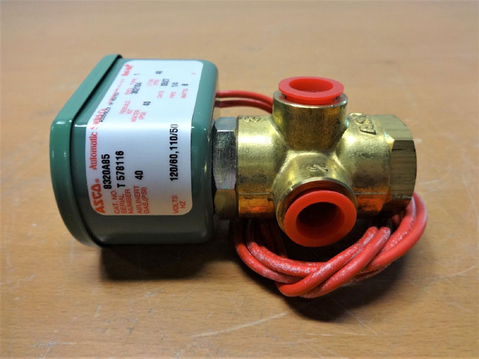 "ASCO RED HAT 1/4"" 3-WAY BRASS SOLENOID VALVE 8320A85"