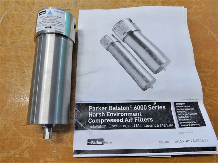 "PARKER BALSTON 1/4"" STAINLESS STEEL COMPRESSED AIR FILTER 6002N-0A2-DX"