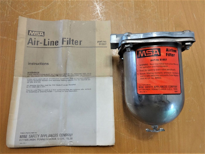 MSA MINE SAFETY APPLIANCES CO. AIRLINE FILTER 81857