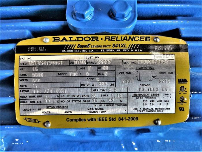 BALDOR RELIANCE 841XL SUPER-E SEVERE DUTY 15HP MOTOR 09L454Y948G1