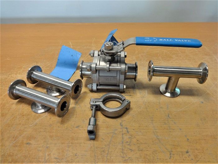 """LOT OF (5) TRI-CLAMP PARTS 1.5"""" BALL VALVE, 1"""" & 1.5"""" TEES & SHORT TEE, 316SS"""