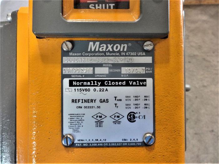 "MAXON 3"" 150# FLANGED WCB REFINERY GAS SHUT OFF VALVE 300CMM12-BB22-BA*1A0"