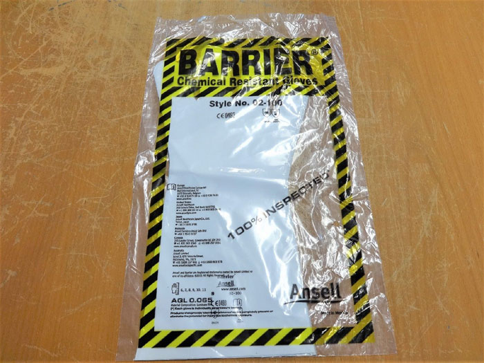 ANSELL 02-100 BARRIER CHEMICAL RESISTANT GLOVES - SIZE 9 - LOT OF (40) PAIRS