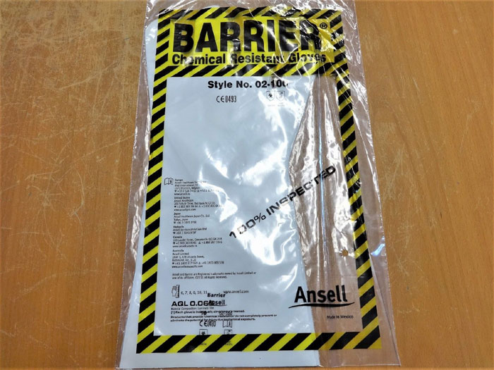 ANSELL 02-100 BARRIER CHEMICAL RESISTANT GLOVES - SIZE 10 - LOT OF (36) PAIRS