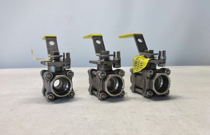 "LOT OF (3) APOLLO AR 3/4"" SOCKET WELD 3-PIECE CF8M BALL VALVE #85R-204-01"