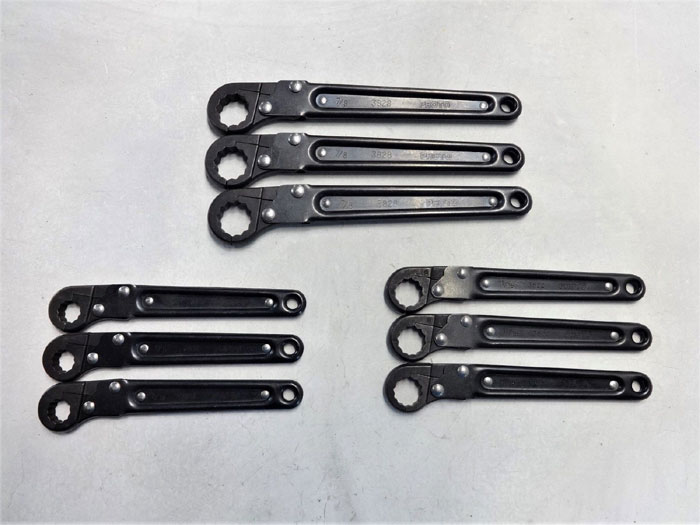 "LOT OF (9) PROTO FLARE NUT RATCHET WRENCH 7/8"" J3828, 9/16"" J3818 & 11/16"" J3822"