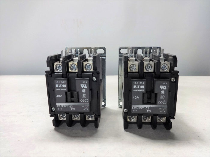 LOT OF (2) EATON CUTLER-HAMMER C25DNY162T DEFINITE PURPOSE CONTACTOR, 40A 3-POLE