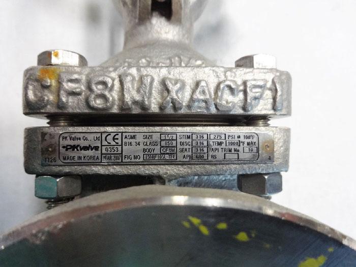 "PK VALVE 1-1/2"" 150# CF8M FLANGED GATE VALVE, FIG# 150RF10SL-TFE"