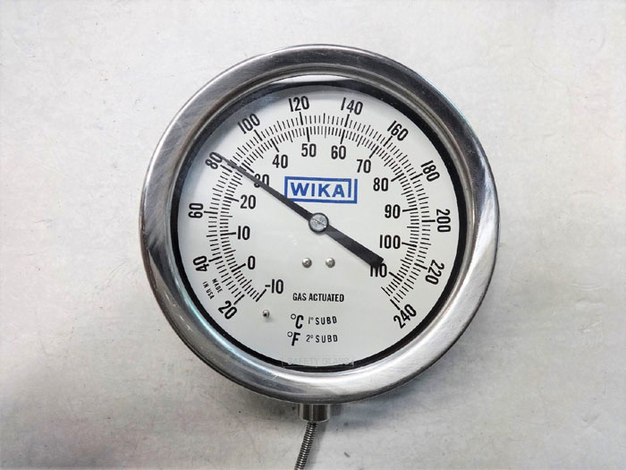 """WIKA 4.5"""" FACE GAS ACTUATED THERMOMETER GAUGE, 20-240F, 6FT, #R45KL58710006DPWI"""
