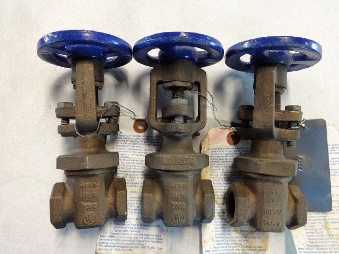 "NIBCO 3/4"" NPT FIRE MAIN GATE VALVE, BRONZE #T-104-0 - LOT OF (3)"