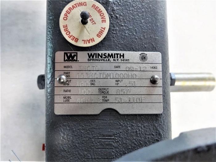 WINSMITH C-LINE WORM GEAR SPEED REDUCER, MODEL# 3MCTD, PART# 003MCTDM1000H0