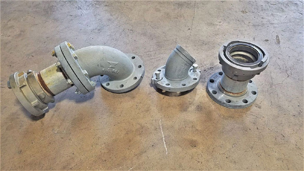 "LOT OF (3) ASSEMBLED 4"" FIRE HOSE FLANGED ADAPTERS - GRINNELL, STORZ & ANVIL"