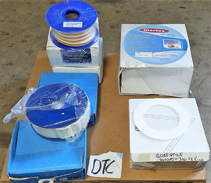 LOT OF GORE GASKETS & TEADIT, LAMONS, INERTEX ROLLS OF GASKET TAPE JOINT SEALANT