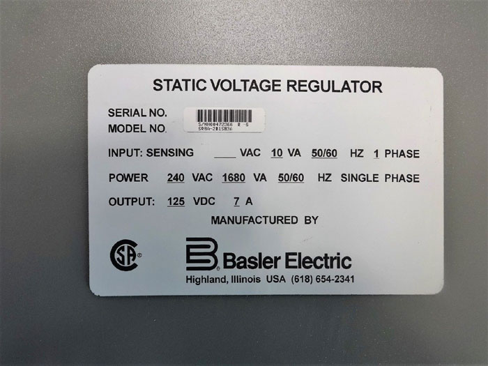 Basler Electric Static Voltage Regulator Sr8a 2b15b3a