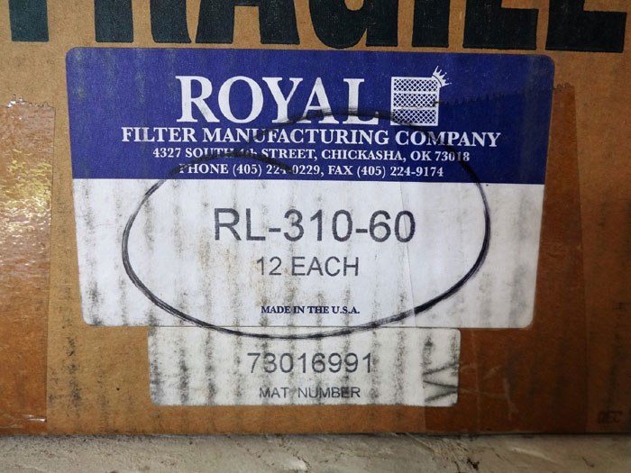 Lot of (12) Royal Filters RL-310-60