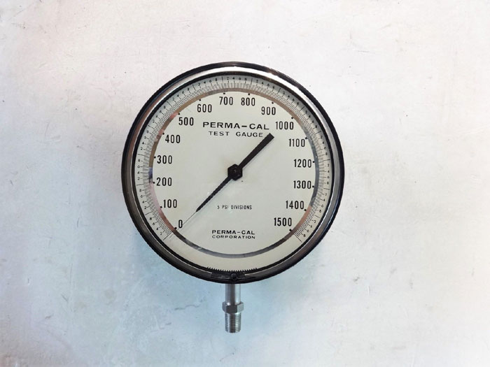 "Perma-Cal 0 - 1500 PSI Test Gauge, 6"" Face, 1/4"" NPT Bottom, Part# 100NTM12A21"