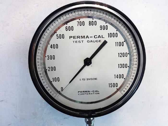 "Perma-Cal 0 - 1500 PSI Test Gauge, 6"" Face, 1/4"" NPT Bottom, Part# 100NTM12A21"