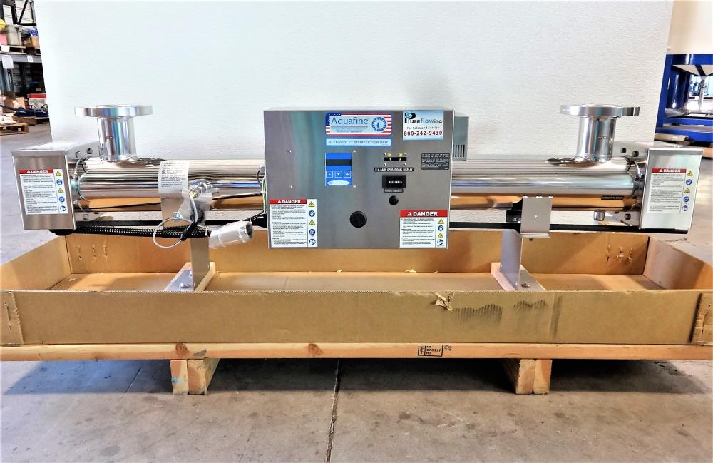 "Aquafine HX02CDL Ultraviolet Disinfection Unit, 3"" 150# Flanges, Stainless Steel"