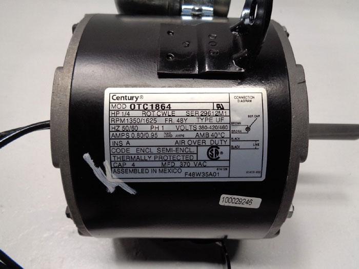 Century Motors, OTC1864, 1/4 HP, 1350/1625 RPM, 380-420/460V, Phase 1