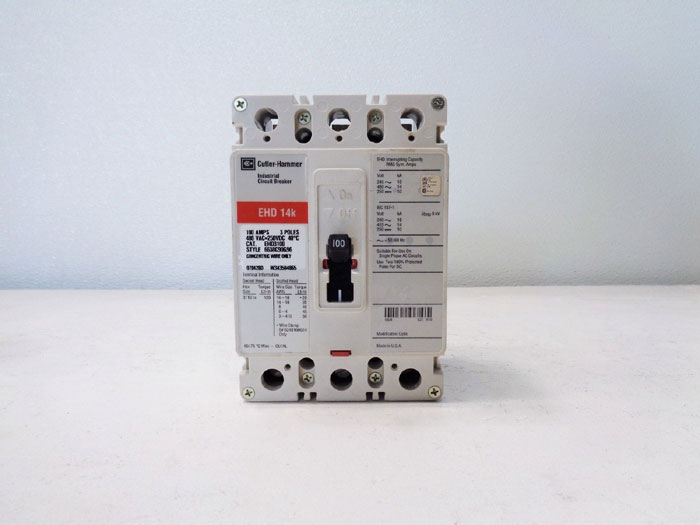 Cutler Hammer EHD 14k Industrial Circuit Breaker, 100A, 3-Pole, EHD3100