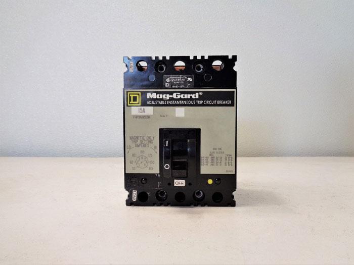 Square D Mag-Gard Circuit Breaker, 15A, 3-Pole, 600VAC, #FHP3601513M