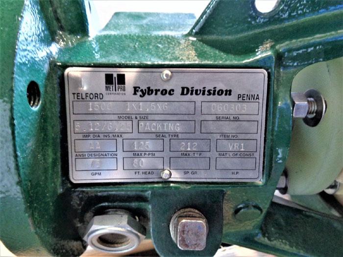 "Fybroc 1500 Fiberglass Pump 1"" x 1.5"" x 6"""