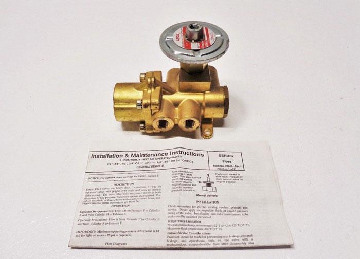"ASCO 4-Way 1/4"" Brass Solenoid Valve F444B000K"