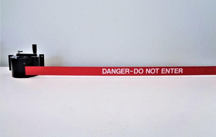 "Visiontron RetractaBelt Retractable Barrier 50FT, Red, ""DANGER - DO NOT ENTER"""