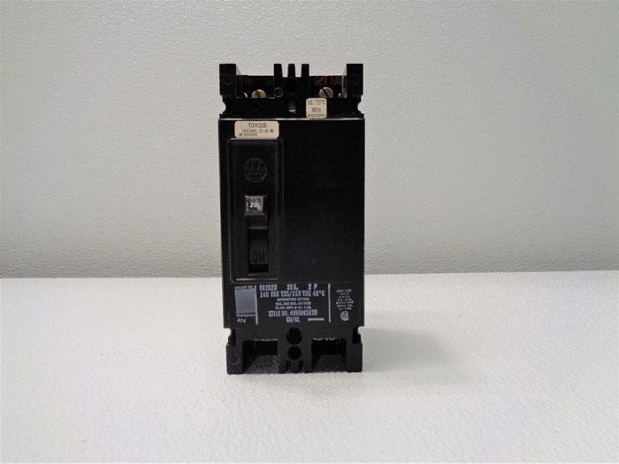 Westinghouse EB2020 Circuit Breaker, 20A, 2-Pole, 240 VAC, 125/250 VDC