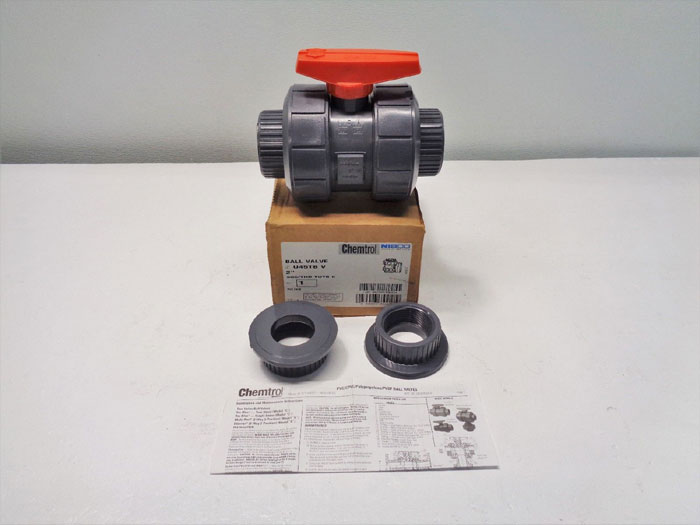 "Chemtrol Nibco 2"" PVC FKM Ball Valve, SOC/THD, Full-Port, U45TB V **LOT OF (2)**"