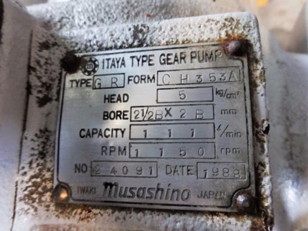MUSASHINO ITAYA TYPE GR GEAR PUMP FORM CH 353A