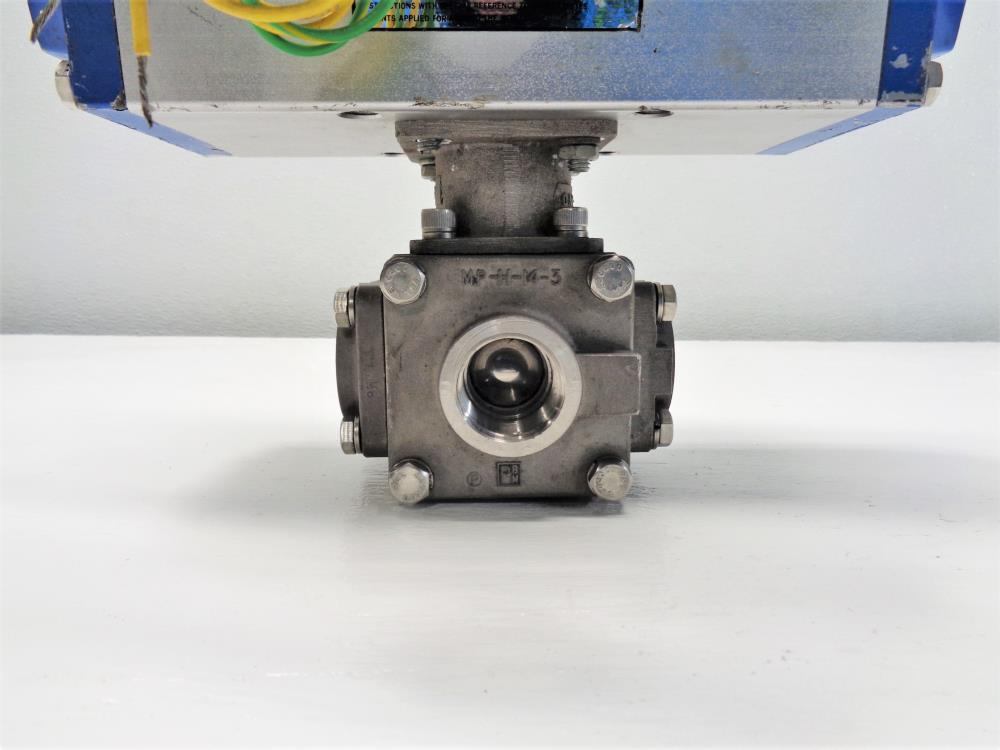 "PBM 1"" NPT Actuated 3-Way Ball Valve, Stainless Steel, MPH-34-S2/P0C0H64D"