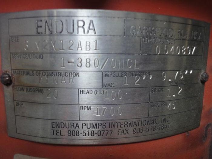 ENDURA PUMP w/ BALDOR MOTOR, Size: 3 x 2 x 12 AB1