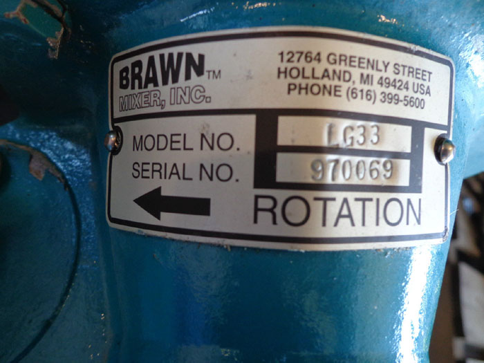 BRAWN MIXER LG33 w/ DART CONTROL 253G-200E & RELIANCE ELECTRIC MOTOR SE0056C