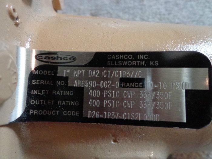 """CASHCO 1"""" DA2 DIFFERENTIAL PRESSURE REDUCING REGULATOR"""
