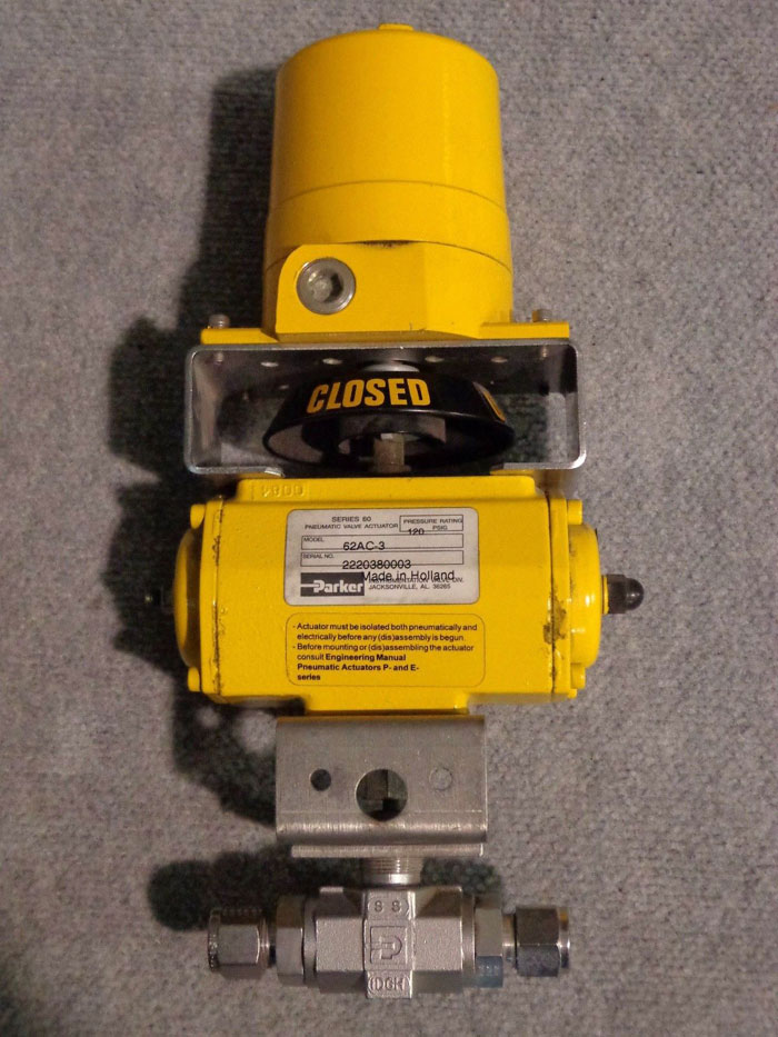 PARKER SERIES 60 PNEUMATIC VALVE w/ ACTUATOR 62A0-3 -OR- 62AC-3 AVAILABLE