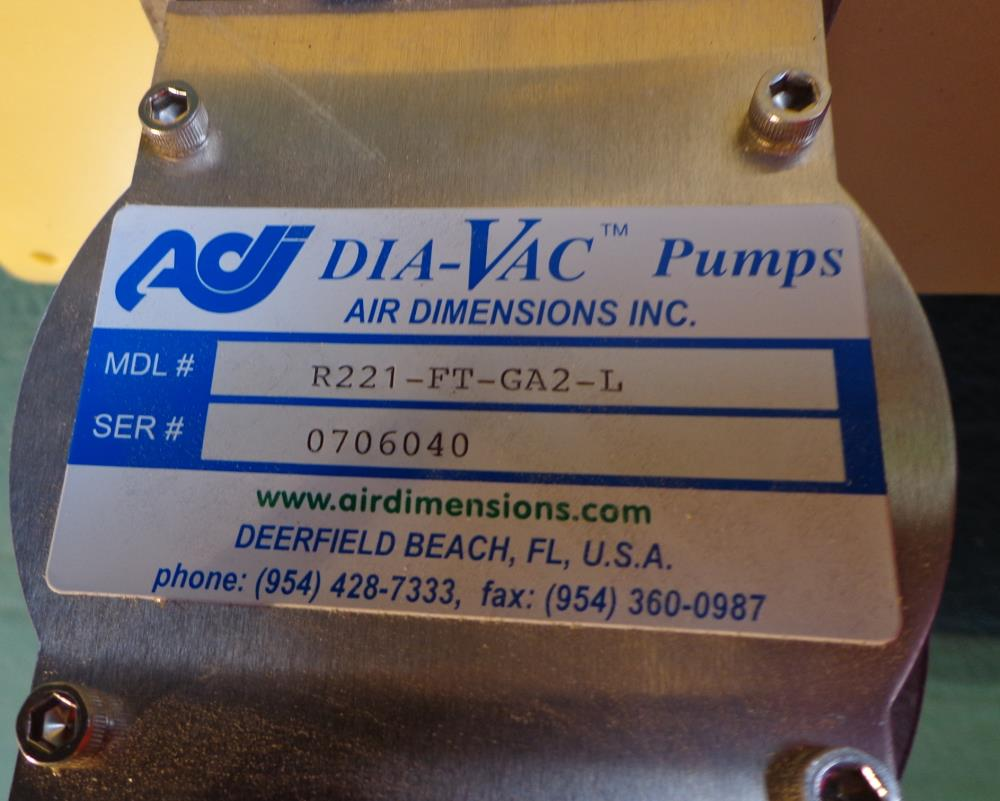 DIA-VAC PUMP R221-FT-GA2-L