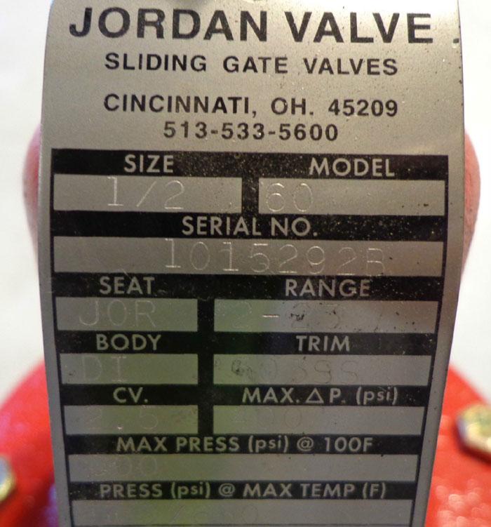 """JORDAN 1/2"""" SLIDING GATE VALVE - MODEL 60"""