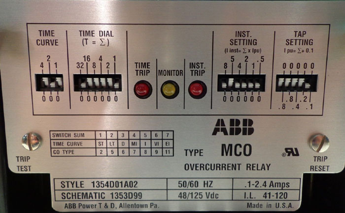 ABB TYPE MCO OVERCURRENT RELAY, STYLE# 1354D01A02, SCHEMATIC# 1353099