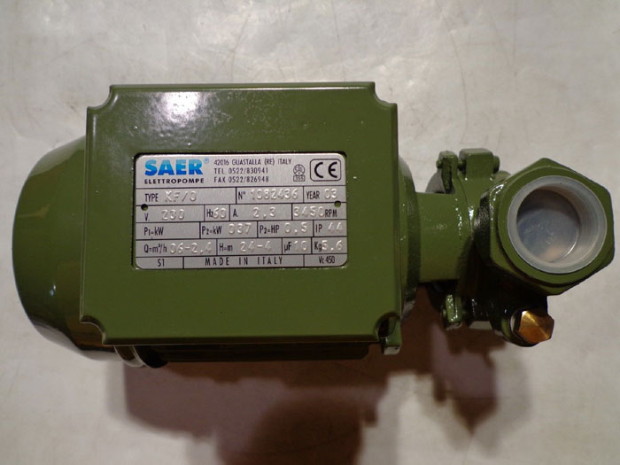 SAER KF SERIES 1/2 HP CENTRIFUGAL PUMP TYPE KF/0