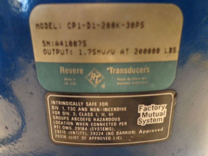 REVERE TRANSDUCERS LOAD CELL  MODEL CP1-D1-200K