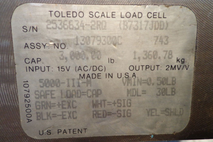 TOLEDO SCALE LOAD CELL 3000LB