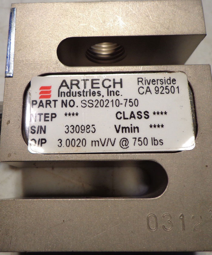 ARTECH INDUSTRIAL S LOAD CELL  750LBS.