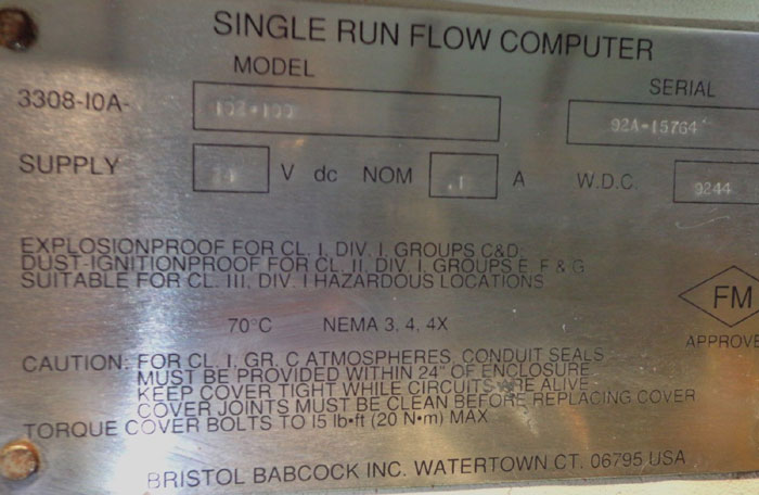 BRISTOL BABCOCK ACCURATE SINGLE RUN FLOW COMPUTER
