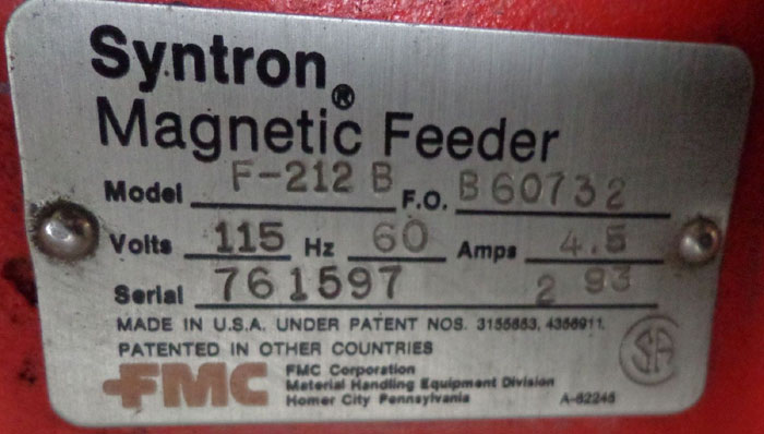 FMC SYNTRON MAGNETIC VIBRATOR - V85-C1 w/ FMC SYNTRON MAGNETIC FEEDER - F-212B