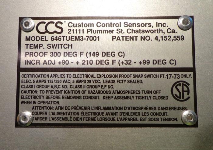 CUSTOM CONTROL SENSOR - MODEL: 646TUEM3-7001 w/ PROBE