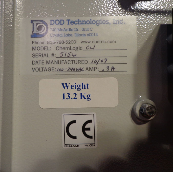 DOD TECHNOLOGIES GAS MONITOR CHEMLOGIC  CL1